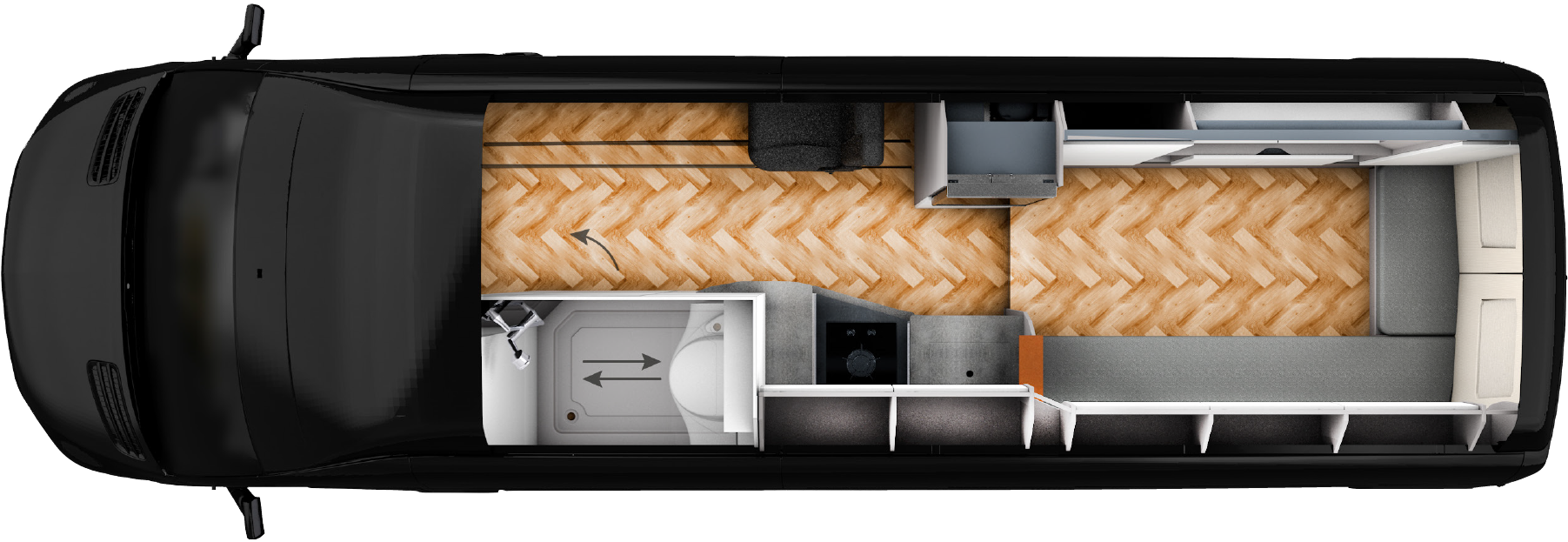 Campervan Yucon 7.0 Lounge by FRANKIA – Grundriss
